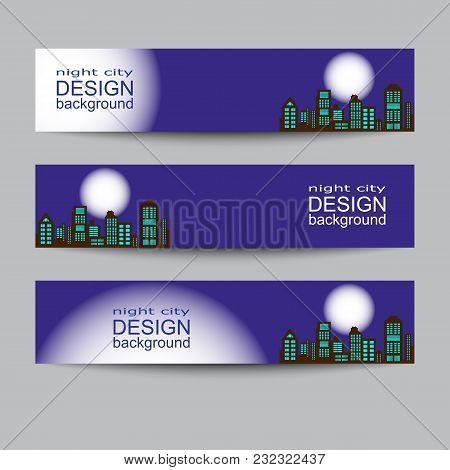 Modern Urban City Skyline At Full Moon Night On Dark Background Horizontal Banners Isolated Vector I