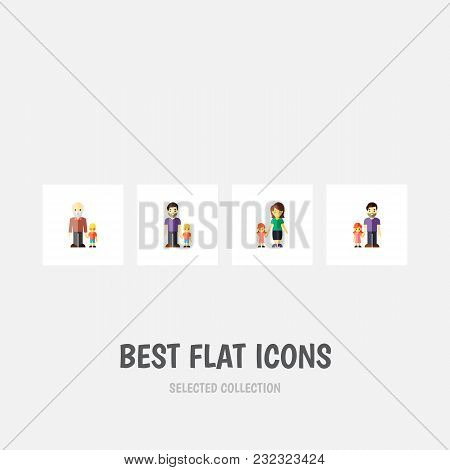 Icon Flat Relatives Set Of Daugther, Father, Gril And Other  Objects. Also Includes Family, Father,