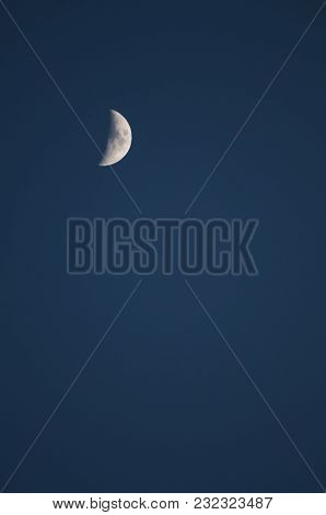 Half Moon On A Blue Evening Sky