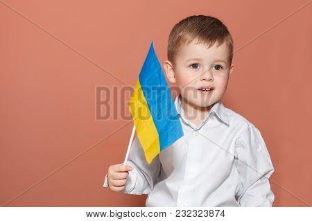 A Cute Boy Waving The Flag Of Ukraine