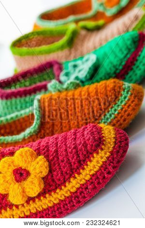 The Bright And Colorful Knitted Homemade Slippers.