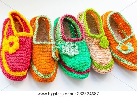 The Bright And Colorful Knitted Homemade Slippers
