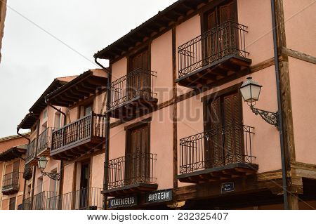 Old Houses In The Town Square Of Ayllon Cradle Of The Red Villages In Addition Of Beautiful Medieval