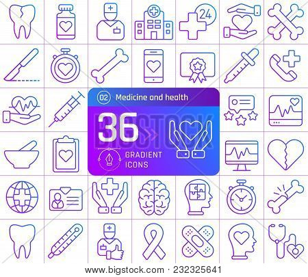 Medicine And Health Line Icons Set. Suitable For Banner, Mobile Application, Website.