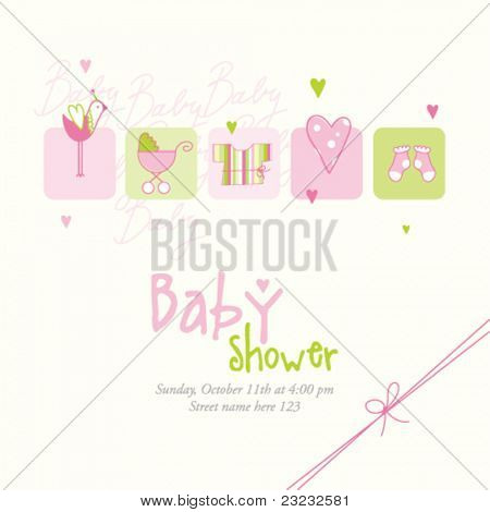 Baby girl shower card with copy space