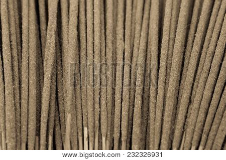 Background Of Incense Sticks In Black And White