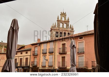 Bell Tower Of The Church In The Town Square Of Ayllon Cradle Of The Red Villages Besides Beautiful M