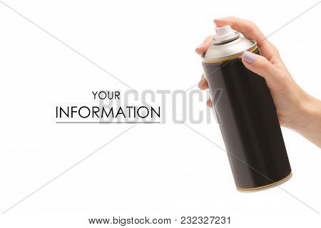 Female Hand Can Of Paint Pattern On White Background Isolation