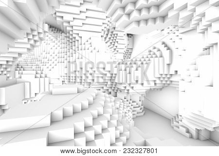 Abstract Multilevel Space From Cubes. Light Abstract Modern Architecture Background. 3d Rendering. 3