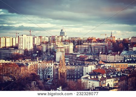 Szczecin City At Sunset, Color Toned Picture, Poland.