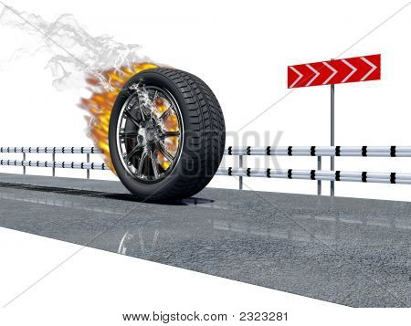 Fire Wheel On The Road