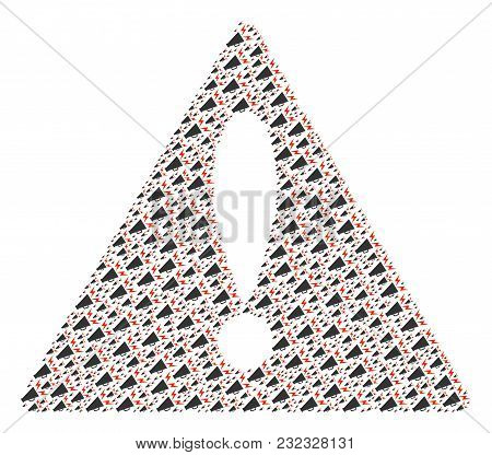Mistake Triangle Sign Pattern Constructed Of Alert Megaphone Elements. Vector Alert Megaphone Design