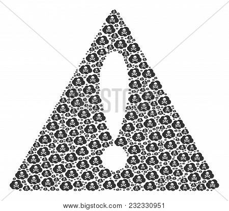 Attention Symbol Mosaic Composed Of Toxic Smoke Pictograms. Vector Toxic Smoke Pictograms Are Combin
