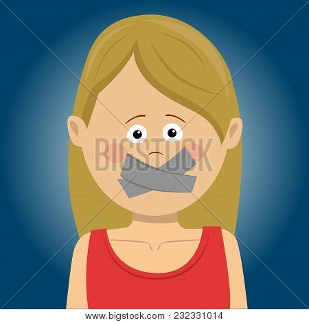 Scared Young Woman With Tape Over Her Mouth Over Blue Background