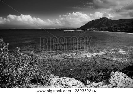 View To The Cyprus Island Sea Coast With Mountain. Akamas Cape Landscape. Natural Seasonal Summer Va