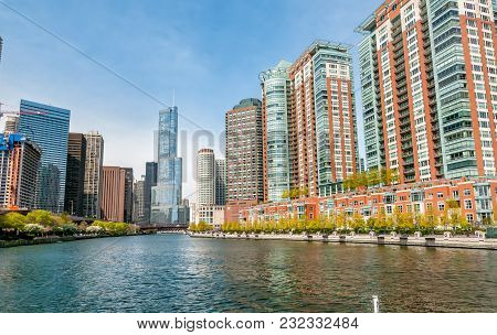 Chicago, Illinois, Usa - April 13, 2012: View Of Chicago Cityscape With Donald Trump Tower In Backgr