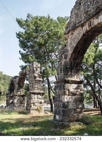 Ruin Roman Aqueduct In Ancient Phaselis. Turkey