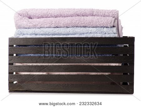 Towels Color Set In A Box Bath On A White Background Isolation