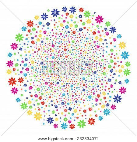 Multicolored Abstract Flower Festive Sphere. Vector Cluster Bang Organized By Random Abstract Flower