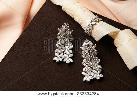 Luxury Earrings In Jewel Box. Pair Of Diamond Earrings, Close-up.