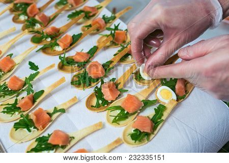 Delicates, Appetizer Filling With Red Fish And Greens. Catring Service