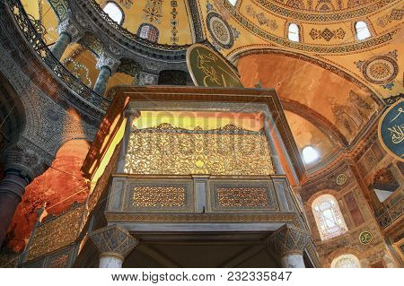 Istanbul, Turkey - March 28, 2012: Arbor Of  Sultan In Cathedral Of Hagia Sophia.