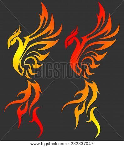 Golden Fiery Phoenix On A Black Background