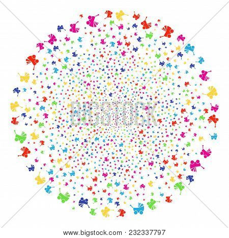 Multi Colored Baby Carriage Carnival Globula. Vector Round Cluster Fireworks Created From Scatter Ba