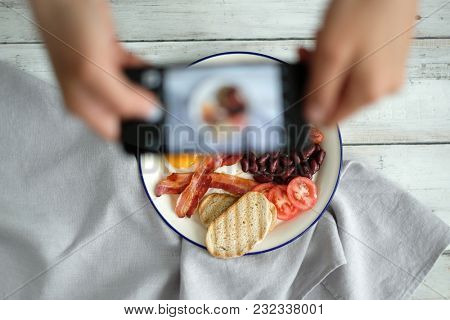 Food and cuisine. Engish breakfast on the table