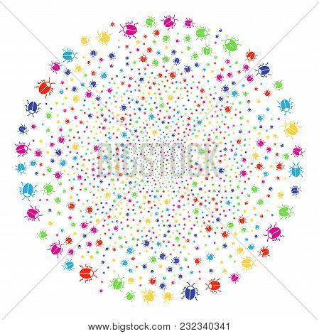 Multi Colored Bug Bang Cluster. Vector Globula Explosion Created From Random Bug Items. Multi Colore