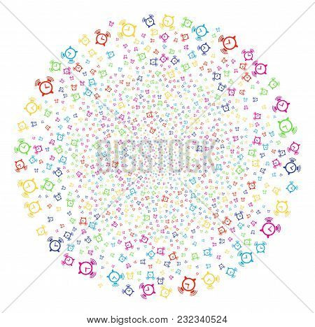 Colorful Buzzer Sparkler Spheric Cluster. Vector Round Cluster Salute Created By Randomized Buzzer S