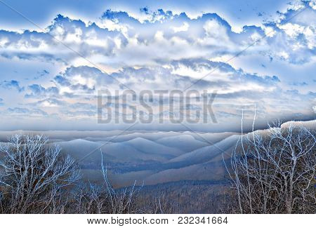 An abstract artistic landscape view of mountains in the Blue Ridge Parkway in North Carolina.