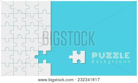 Abstract conceptual background with incomplete jigsaw puzzle , vector , illustration poster