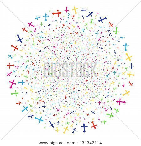 Multi Colored Christian Cross Sparked Sphere. Vector Round Cluster Explosion Designed From Random Ch