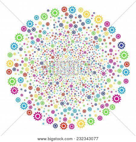 Psychedelic Cogwheel Sparked Globula. Vector Spheric Cluster Burst Done From Scattered Cogwheel Obje