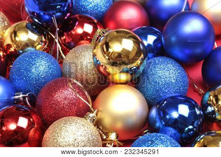 Decorated With Colorful Balls. Blurry, Sparkling And Fabulous Background