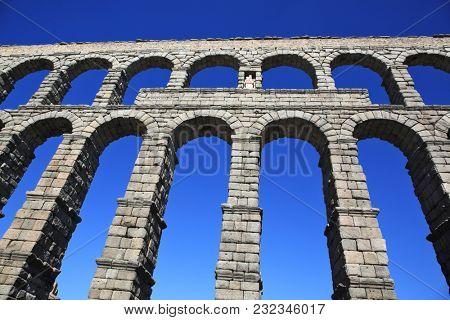 Ancient Roman aqueduct bridge of Segovia, Castilla Leon, Spain