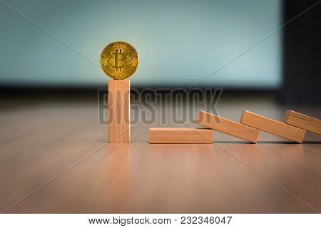 Dominoes Effect And Survivor Bitcoin Concept., Stock Bankruptcy
