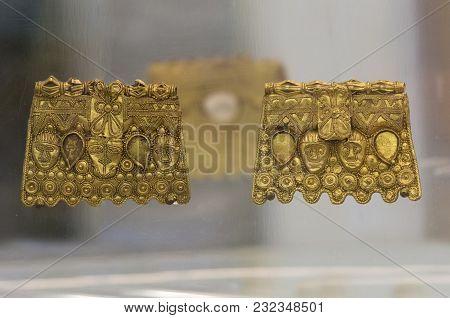 Badajoz, Spain - November 21, 2017: La Martela Hoard Golden Plates Dated At 2nd Iron Ages. Badajoz A