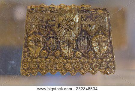 Badajoz, Spain - November 21, 2017: La Martela Hoard Golden Plate Dated At 2nd Iron Ages. Badajoz Ar