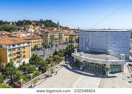 Nice, France - June 23, 2016: Aerial View Of The National Theater Of City Of Nice (theatre National