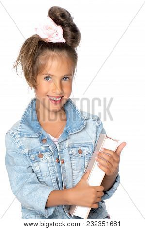 Little Girl With Book. The Concept Of Education In School Or Kindergarten. Isolated Over White Backg