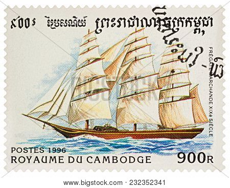 Moscow, Russia - March 21, 2018: A Stamp Printed In Cambodia Shows Sailing Ship Frigate, 19th Cent.,