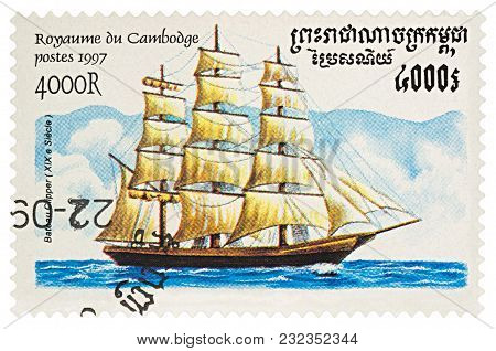 Moscow, Russia - March 20, 2018: A Stamp Printed In Cambodia Shows Old Sailing Ship Clipper (19th Ce