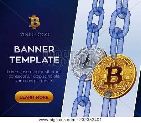 Crypto Currency Editable Banner Template. Bitcoin. Litecoin. 3d Isometric Physical Bit Coins. Golden