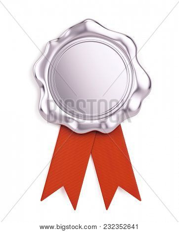 Blank silver wax seal with red ribbon isolated on white background. 3d illustration