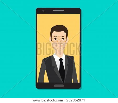 Facial Recognition Men With Face Tracking Point On The Smartphone Vector Graphic Illustration
