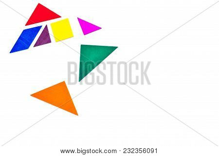Color Paper Pieces For Business Puzzle On White Table Background Top View Space For Text
