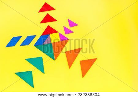 Jigsaw Puzzle Game Piece On Office Table In Business Strategy Set On Yellow Background Top View Mock