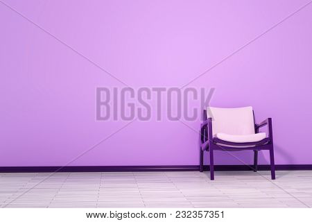 3d illustration of a chair in an empty room